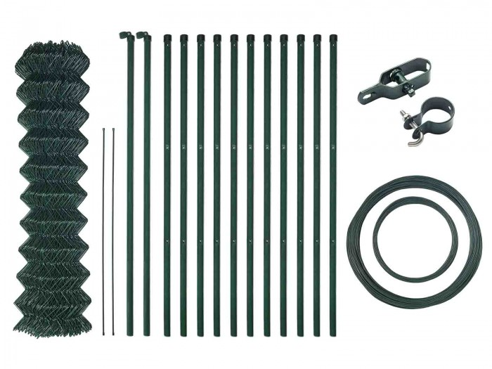 25m H=1250 Grün Maschendrahtzaun Komplett Set