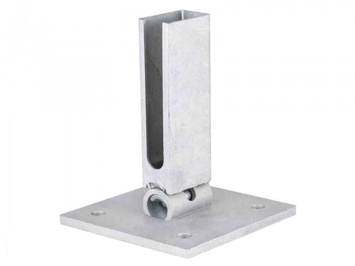 Flexi Bodenplatte feuerverzinkt 60 x 40 mm Zaunpfosten bis 2030 mm Zaunhöhe