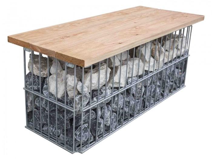Gabionen Sitzbank, verzinkt aus Douglasie Holz - Gartenbank Bank