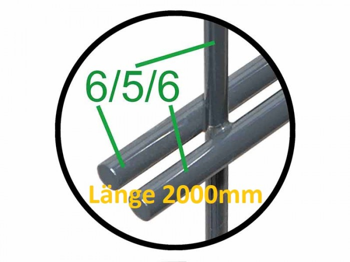 Rapid2000 656 (2m Länge) Einzelne Doppelstabmatten Zaunelemente RAL 7016 anthrazit