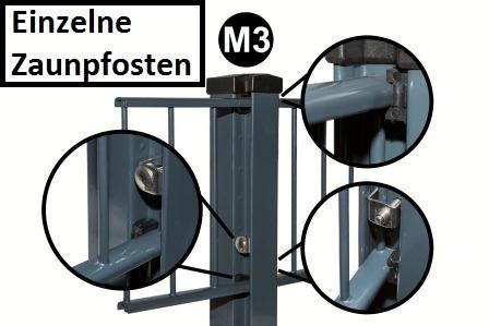 M3 Zaunpfosten mit Montageflansch für 600-2000mm Zaunhöhe