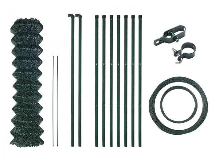 15m H=1250 Grün Maschendrahtzaun Komplett Set